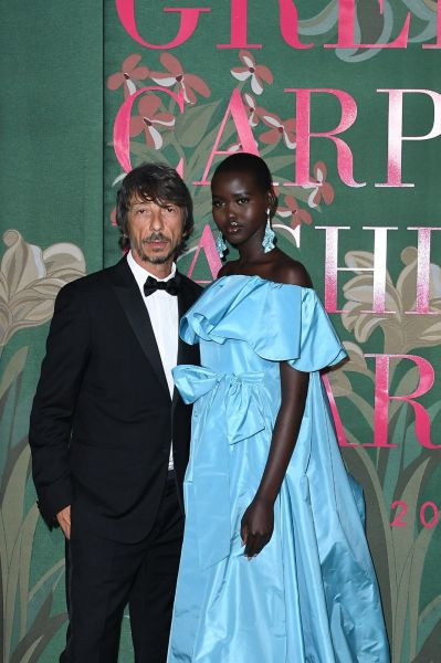 Pierpaolo Piccioli and Adut Akech in Valentino